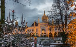 Christmas decoration at the Moorish Palace in Tivoli gardens. Copenhagen, Denmark, December 12, 2017 stock image