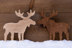 Christmas Decoration, Moose Couple In Love, Snow Royalty Free Stock Photo