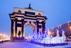 Christmas decoration of Moscow. Arc de Triomphe is beautiful, imbued with the idea of the triumph of the Russian people a symbol of victorious Moscow, is the Stock Photos