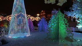 Christmas decoration in Moscow stock video footage