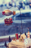 Christmas decoration with moving toys Royalty Free Stock Image