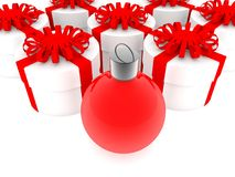 Christmas decoration near round gift boxes in white.3d illustration. In backgrounds Stock Image