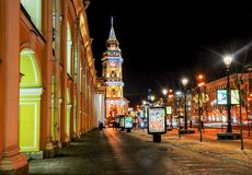 Christmas decoration of the Nevsky prospect. In Saint-Petersburg Stock Images
