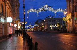 Christmas decoration of the Nevsky prospect. In Saint-Petersburg Stock Photos