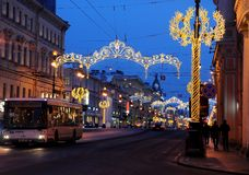 Christmas decoration of the Nevsky prospect in St. Petersburg. Russia Royalty Free Stock Images