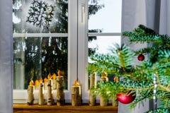 Christmas decoration of new pvc window Stock Photo