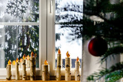 Christmas decoration of new pvc window Royalty Free Stock Images