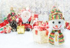 Christmas decoration or new year with Santa Claus and snowman on Stock Photos