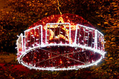 Christmas decoration 4. Christmas decoration at night in an Asturian town Stock Image