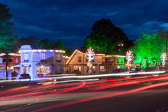 Christmas Decoration at Night Gramado Royalty Free Stock Image