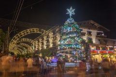 Christmas Decoration at Night Gramado Stock Images