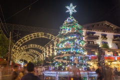 Christmas Decoration at Night Gramado Stock Photo