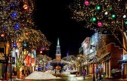 Christmas Decoration, Night, Town, Christmas Lights Stock Photos