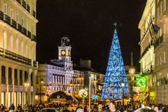 Christmas Decoration Nigth Scene, Madrid, Spain royalty free stock images