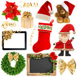 Christmas decoration objects isolated on white Royalty Free Stock Image