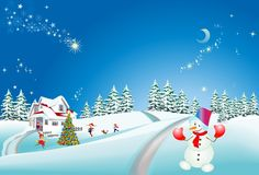 Christmas Decoration Of The Christmas Tree And Snowman, Royalty Free Stock Photo