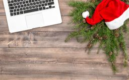 Christmas decoration office desk laptop flat lay Stock Photo