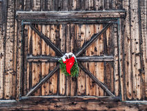 Christmas decoration on old barn Royalty Free Stock Photos