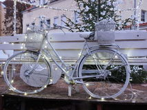 Christmas decoration. Old bicycle, Lithuania Royalty Free Stock Photo