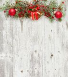 Christmas decoration on old grunge wooden board.  stock photos
