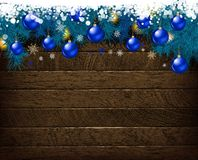 Christmas decoration on old wooden board vector illustration