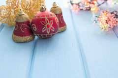 Christmas decoration on old grunge wooden board Stock Images