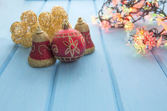 Christmas decoration on old grunge wooden board Royalty Free Stock Image