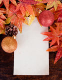 Christmas decoration and old paper with Artificial Royalty Free Stock Image
