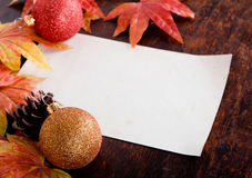 Christmas decoration and old paper with Artificial Royalty Free Stock Photography