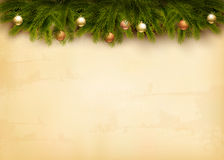 Christmas decoration on old paper Stock Image