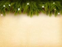 Christmas decoration on old paper background. Stock Image