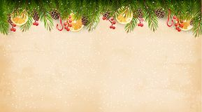 Christmas decoration on old paper background. Stock Photography