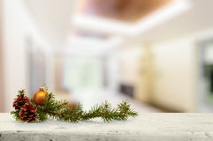 Christmas decoration on old white wooden table Royalty Free Stock Photo