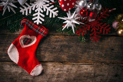 Christmas decoration on old wooden background Stock Photos