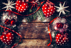 Christmas decoration on old wooden board Stock Photography
