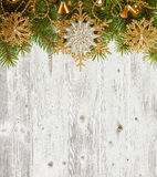 Christmas decoration on old  wooden board Royalty Free Stock Photo