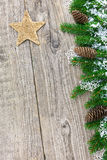 Christmas decoration on old wooden board Stock Images