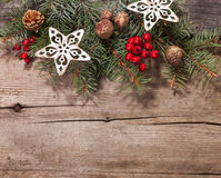 Christmas decoration on old  wooden plank Royalty Free Stock Photos