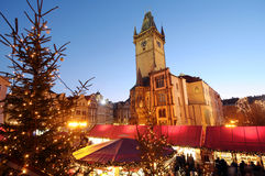 The christmas decoration on the Oldtown square Stock Photography
