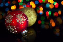 Christmas Decoration On Defocused Lights Stock Photos