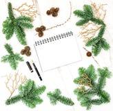 Christmas decoration open book Pine branches golden ornaments. Christmas decoration and open book. Pine branches with golden ornaments Royalty Free Stock Photos