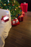 Christmas decoration with open gift Royalty Free Stock Photos