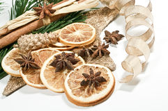 Christmas decoration with orange chips. Decoration with orange chips and star anise Royalty Free Stock Images