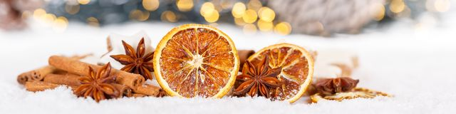 Christmas decoration orange fruit herbs baking bakery banner snow winter. Copyspace copy space text royalty free stock photos