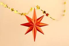 Christmas decoration orange star Royalty Free Stock Images