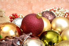 Christmas Decoration ornament, Balls and Tree on banner Template Stock Photography