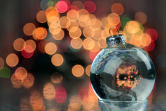 Christmas decoration. Christmas ornament blurred background with lights and copy space royalty free stock photography