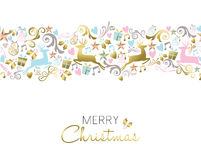 Christmas decoration and ornament pattern in gold royalty free illustration