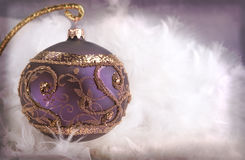 Christmas decoration with ornamented bauble Royalty Free Stock Photo