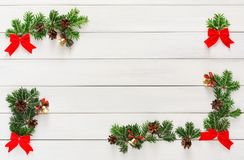 Free Christmas Decoration, Ornaments And Garland Frame Background Stock Image - 103329011